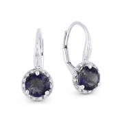 1.45 ct Iolite Gem & Diamond Halo Leverback Baby Earrings in 14k White Gold - AM-DE11562