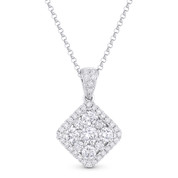 1.03ct Round Cut Diamond Pave Pendant in 18k White Gold & 14k Rolo Chain Necklace - AM-DN5482