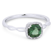 0.78ct Cushion Cut Green Spinel & Diamond Square-Halo Promise Ring in 14k White Gold -  AM-R1030WGS