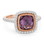2.69ct Checkerboard Cushion Purple Amethyst & Diamond Pave Halo Ring in 14k Rose & White Gold - AM-DR13888