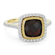 3.89ct Checkerboard Cushion Garnet & Diamond Pave Halo Ring in 14k Yellow & White Gold - AM-DR13896