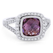 2.77ct Checkerboard Cushion Purple Amethyst & Diamond Pave Halo Ring in 14k White Gold - AM-DR13898W