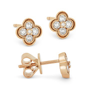 0.28ct Round Brilliant Cut Diamond Pave Flower Stud Earrings in 14k Rose Gold -  AM-DE11364R