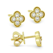0.28ct Round Brilliant Cut Diamond Pave Flower Stud Earrings in 14k Yellow Gold - AM-DE11364