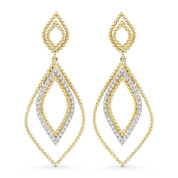 0.20ct Round Cut Diamond Pave Open Dangling Earrings in 14k Yellow & White Gold - AM-DE11568