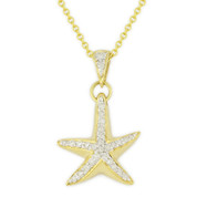 0.16ct Round Cut Diamond Starfish Animal Charm Pendant & Chain Necklace in 14k Yellow Gold