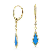 0.59ct Blue Turquoise & Diamond Pave Dangling Stiletto Earrings in 14k Yellow Gold - AM-DE11686