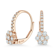 0.74ct Round Cut Diamond Cluster Leverback Flower Charm Earrings in 14k Rose Gold - AM-E1005P