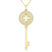 0.18ct Round Cut Diamond Key-to-Heart & 4-Leaf Clover Charm Pendant & Chain Necklace in 14k Yellow Gold