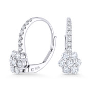 0.74ct Round Cut Diamond Cluster Leverback Flower Charm Earrings in 14k White Gold - AM-E1005W