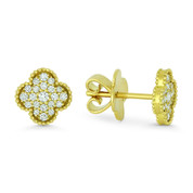 0.31ct Round Cut Diamond Flower Charm Stud Earrings w/ Push-Backs in 18k Yellow Gold - AM-DE11449