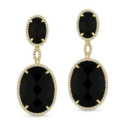 Jet Black Onyx & 0.44ct Round Cut Diamond Pave Dangling Earrings in 14k Yellow Gold -  AM-DE11599