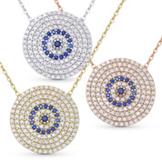 Evil Eye Charm CZ Crystal 21mm Circle Pendant & Chain Necklace in .925 Sterling Silver - EYESN53