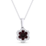 0.25ct Round Cut Ruby & Diamond Flower Pendant in 18k White Gold w/ 14k Chain Necklace - AM-DN4785-Ruby
