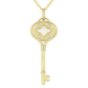 0.03ct Round Cut Diamond Key-to-Heart Charm Pendant & Chain Necklace in 14k Yellow Gold