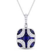 1.73 ct Sapphire & Diamond Pave Pendant in 18k White Gold w/ 14k Chain Necklace - AM-DN4836