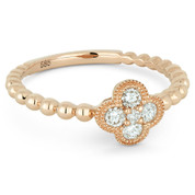 0.21ct Round Brilliant Cut Diamond Pave Flower Charm 5-Stone Ring in 14k Rose Gold -  AM-R1027P