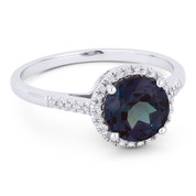 1.74 ct Round Cut Blue Lab-Made Alexandrite & Diamond Halo Promise Ring in 14k White Gold - AM-DR13832