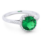 1.19ct Round Cut Green Lab-Made Emerald & Diamond Halo Promise Ring in 14k White Gold - AM-DR13833