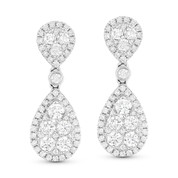 1.26 ct Round Brilliant Cut Diamond Pave Dangling Circle Earrings in 18k White Gold - AM-DE10596
