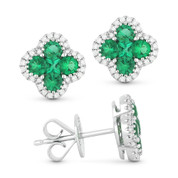 0.94ct Round & Princess Cut Emerald & Diamond Pave Flower Stud Earrings in 14k White Gold - AM-DE11074