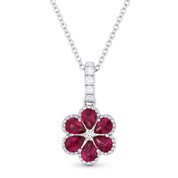 0.73ct Pear-Shape Ruby & Round Cut Diamond Flower Pendant in 18k White Gold w/ 14k Chain - AM-DN4714