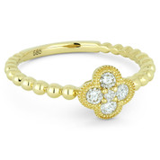 0.21ct Round Brilliant Cut Diamond Pave Flower Charm 5-Stone Ring in 14k Yellow Gold - AM-R1027Y