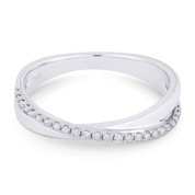0.14ct Round Cut Diamond Right-Hand Overlap Ring in 14k White Gold - AM-R1042W