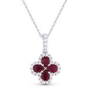 0.89 ct Pear-Shape Ruby & Round Cut Diamond Flower Pendant in 18k White Gold w/ 14k Chain - AM-DN4711