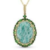 14.13 ct Amazonite, Green Garnet, & Diamond Pendant & Rolo Chain Necklace in 14k Yellow Gold - AM-DN4621