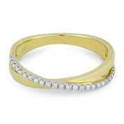 0.15ct Round Cut Diamond Right-Hand Overlap Ring in 14k Yellow & White Gold - AM-R1042Y