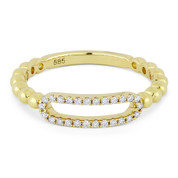 0.13ct Round Cut Diamond Open-Oval & Ball-Bead Band Right-Hand Ring in 14k Yellow Gold - AM-R1033Y