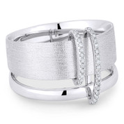 0.10ct Round Cut Diamond Right-Hand Fashion Ring in 14k White Gold - AM-R1053W