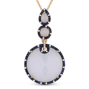 12.26ct Chalcedony, Sapphire, & Diamond Pendant & Chain Necklace in 14k Rose Gold - AM-DN3976