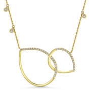 0.34 ct Round Cut Diamond Double Tear-Drop Pendant & Chain Necklace in 14k Yellow Gold - AM-DN4884