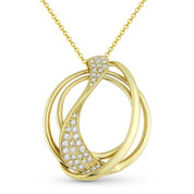 0.36 ct Round Cut Diamond Cluster Overlap Swirl Pendant & Chain Necklace in 14k Yellow Gold - AM-DN4887