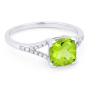 1.45ct Cushion Cut Peridot & Round Cut Diamond Splitshank Ring in 14k White Gold - AM-R13983PE