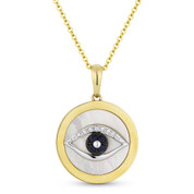 2.55ct Mother-of-Pearl, Sapphire, & Diamond Evil Eye Charm Pendant & Chain in 14k Yellow Gold - AM-DP5487