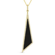 Black Onyx & 0.18ct Diamond Pave Dangling Stiletto Pendant & Chain in 14k Yellow Gold - AM-DN4923