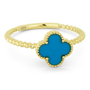 0.44ct Blue Turquoise Right-Hand Flower Ring in 14k Yellow Gold - AM-R1025TQY