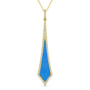 Blue Turquoise & 0.18ct Diamond Pave Dangling Stiletto Pendant & Chain in 14k Yellow Gold - AM-DN4921TQ