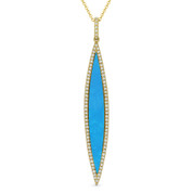0.99ct Blue Turquoise & Diamond Pave Dangling Stiletto Pendant & Chain Necklace in 14k Yellow Gold - AM-DN4930TQ