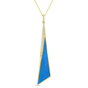 Blue Turquoise & 0.12ct Diamond Pave Dangling Stiletto Pendant & Chain in 14k Yellow Gold - AM-DN5002