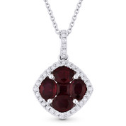 1.14ct Ruby & Diamond Flower Pendant in 18k White Gold w/ 14k Chain Necklace - AM-DN4959