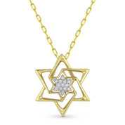 0.04ct Round Cut Diamond Star of David Pendant & Chain Necklace in 14k Yellow Gold - AM-DP6152