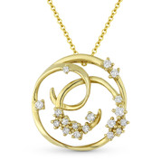 0.27ct Diamond Cluster Circle & Vine Charm Pendant & Chain Necklace in 14k Yellow Gold - AM-DN4957