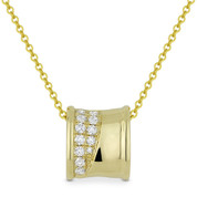 0.14ct Round Cut Diamond Sliding Pendant & Chain Necklace in 14k Yellow Gold - AM-DN5032