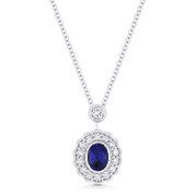 0.69ct Oval Cut Sapphire & Diamond Floral Pendant & Chain Necklace in 14k White Gold - AM-DN5028
