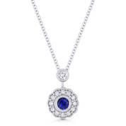 0.35ct Round Cut Sapphire & Diamond Floral Pendant & Chain Necklace in 14k White Gold - AM-DN5029