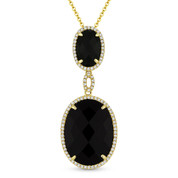 Checkerboard Black Onyx & 0.22ct Diamond Halo Pendant & Chain Necklace in 14k Yellow Gold - AM-DN5108